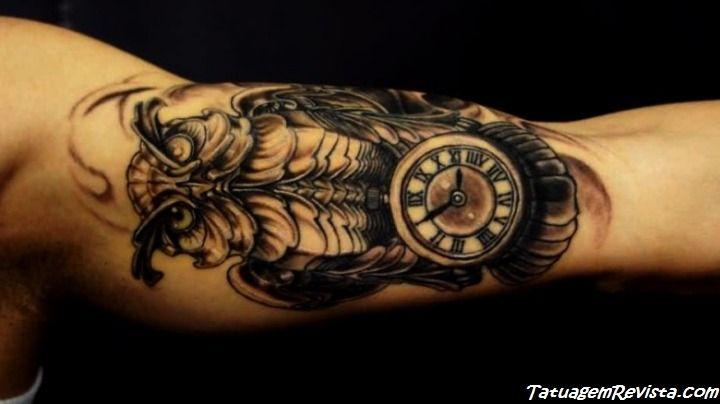 tattoos-de-corujas-con-reloj