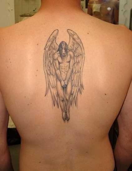 Tatuagem da coluna vertebral, o cara - de- anjo