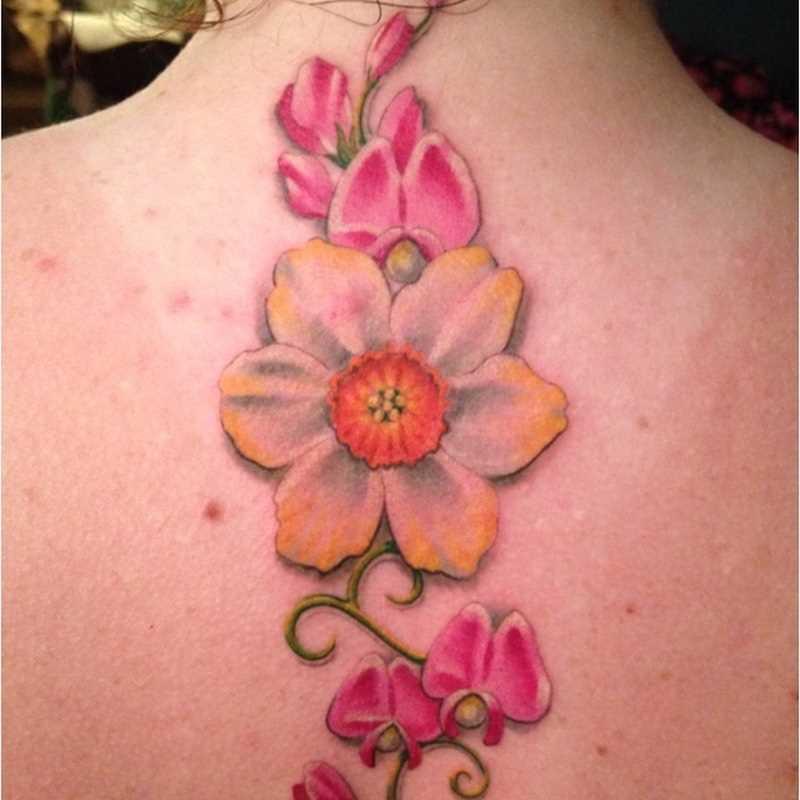 A foto da tatuagem de narcisos na coluna da menina