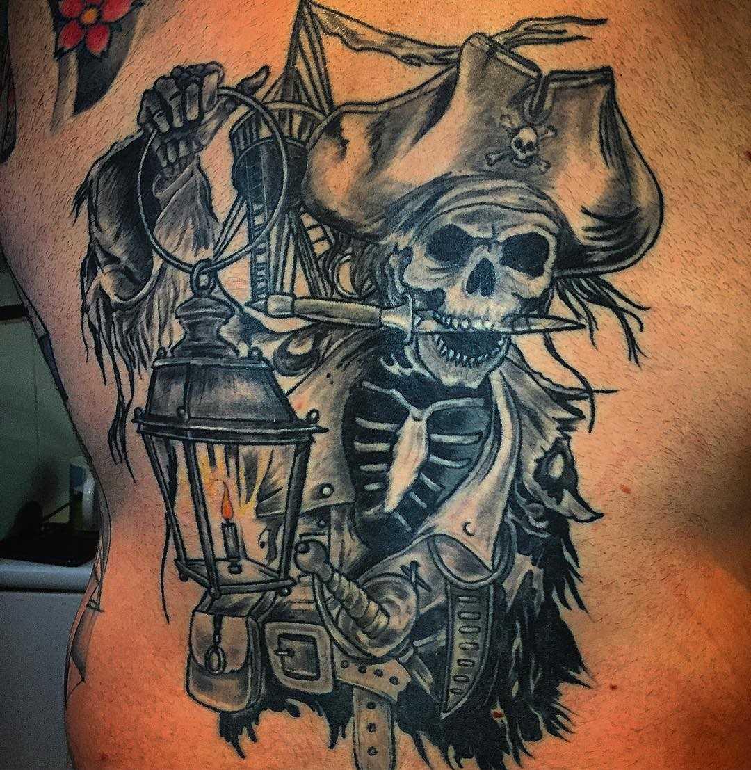 A imagem de um pirata nas costas de homens