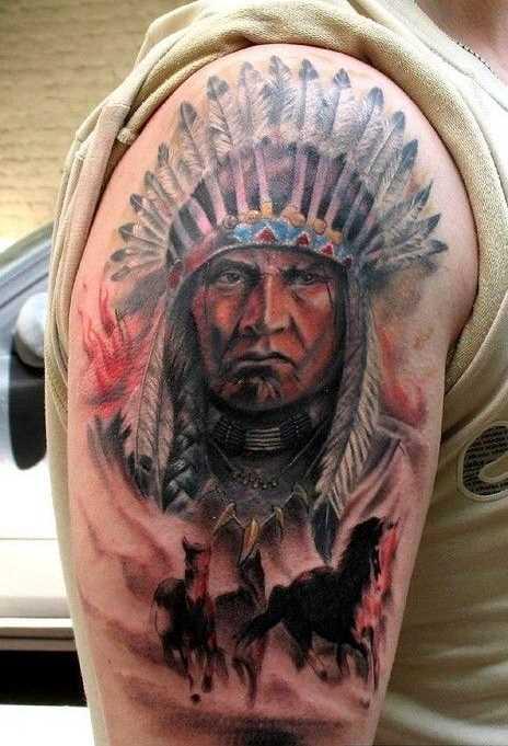 A imagem do indígena no ombro de homens