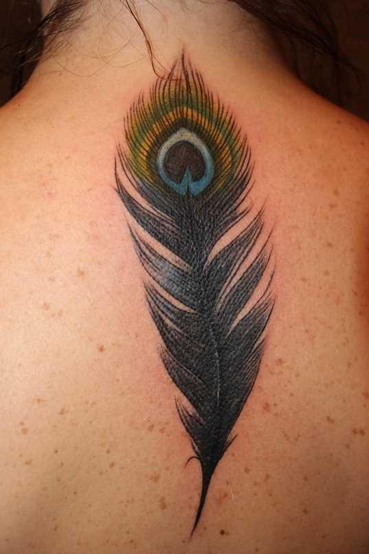 A tatuagem da coluna vertebral, a menina - caneta