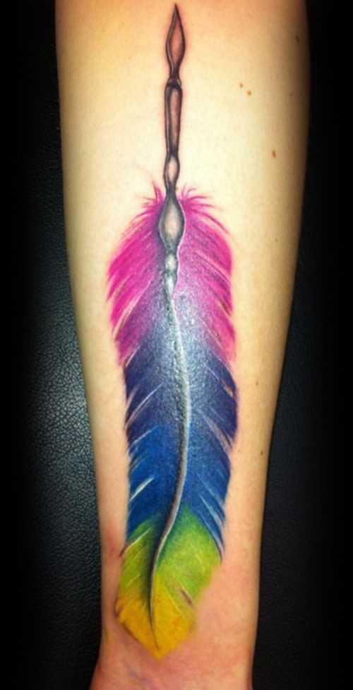 A tatuagem de uma menina no antebraço de cores de caneta