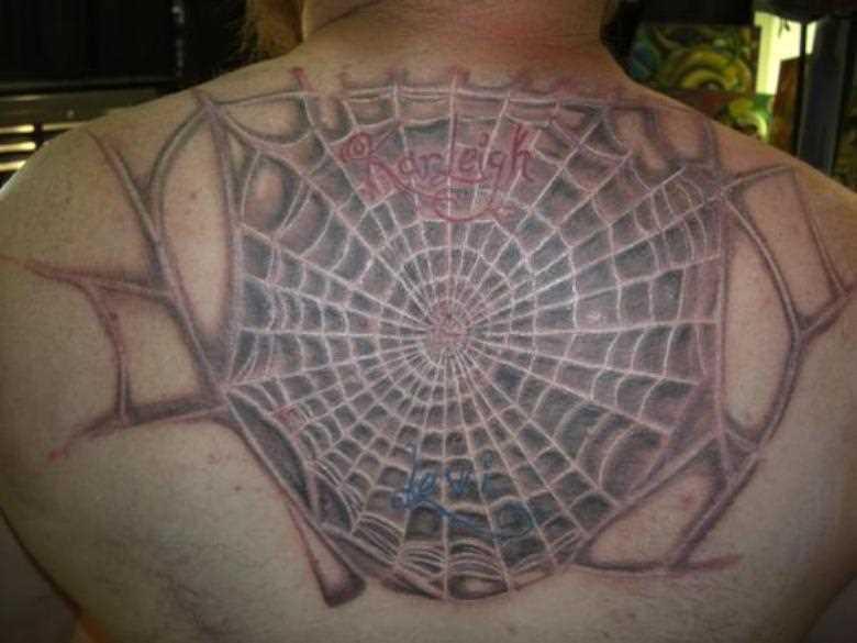 A tatuagem do cara em suas costas - uma teia de aranha e inscrição