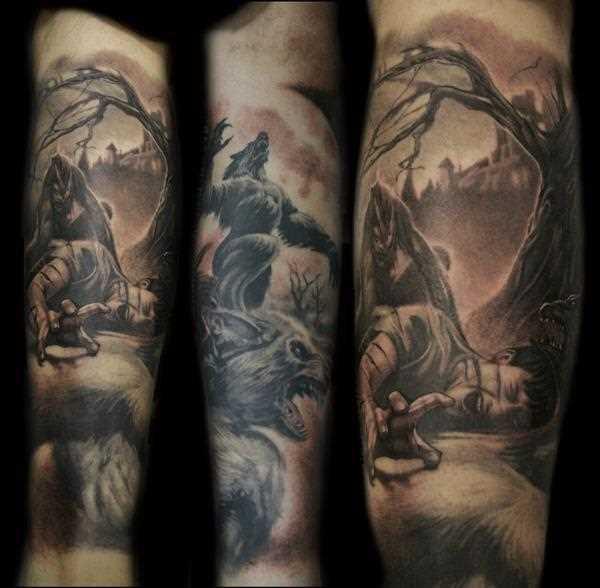 A tatuagem do cara no antebraço - lobisomem, napavshii na floresta por pessoa