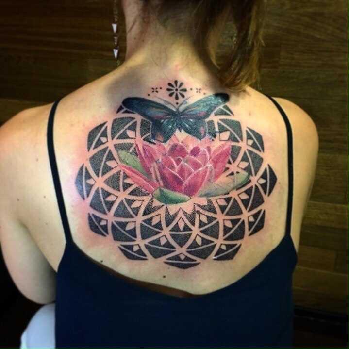 A tatuagem nas costas de uma menina - lótus e a borboleta