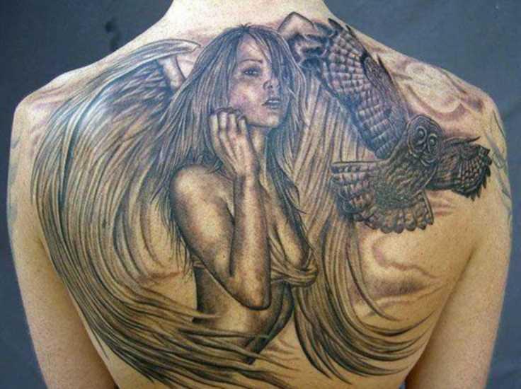 A tatuagem nas costas do cara - de- menina-anjo e coruja