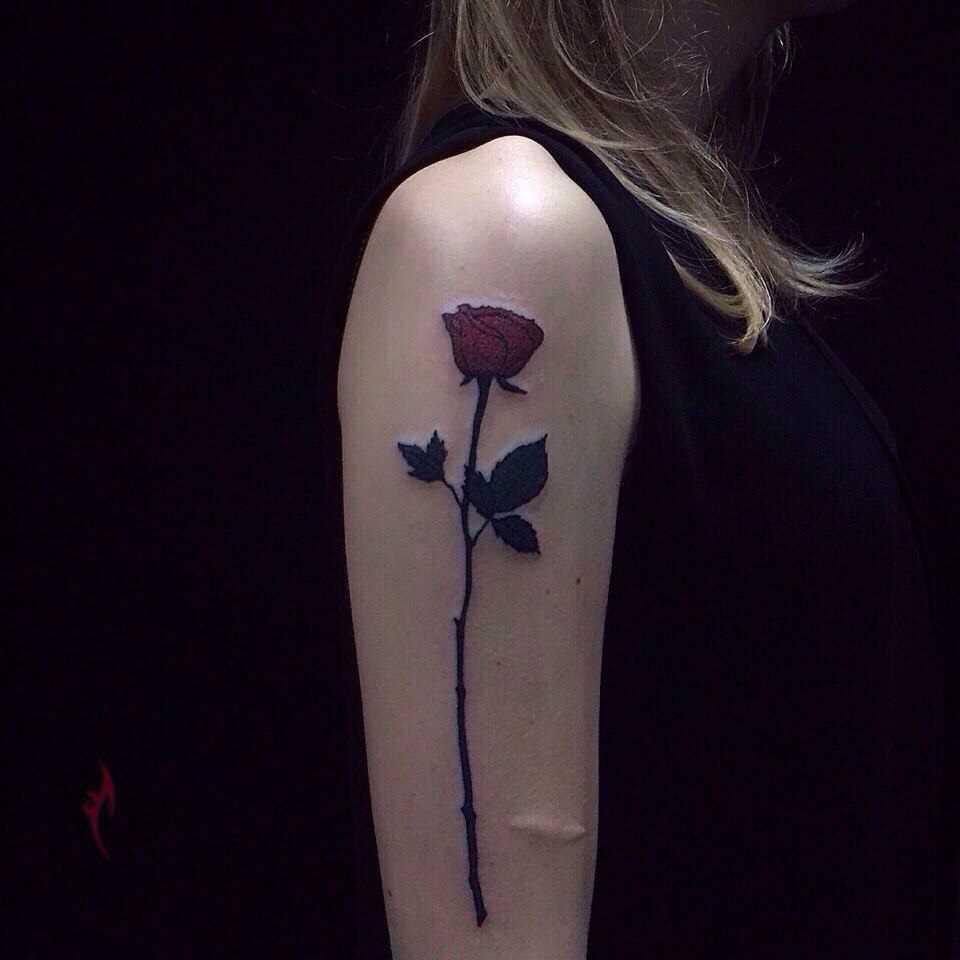 A tatuagem no braço de uma menina - rosa em uma haste longa