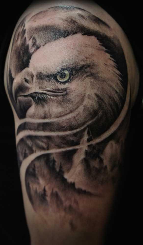 A tatuagem no ombro de um cara - coroa