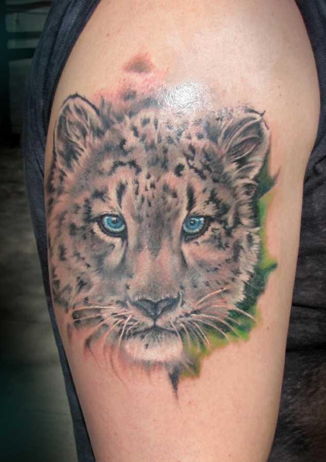 A tatuagem no ombro o homem - leopardo