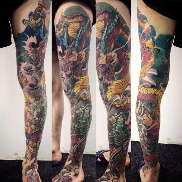 A tatuagem no pé do cara - japonês dragão