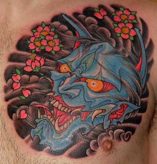 A tatuagem no peito de um cara - ímpios máscara