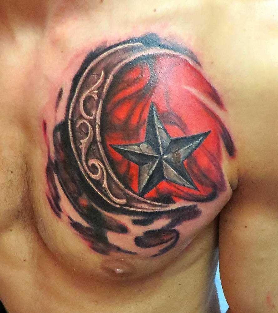 A tatuagem no peito do cara - a lua e a estrela