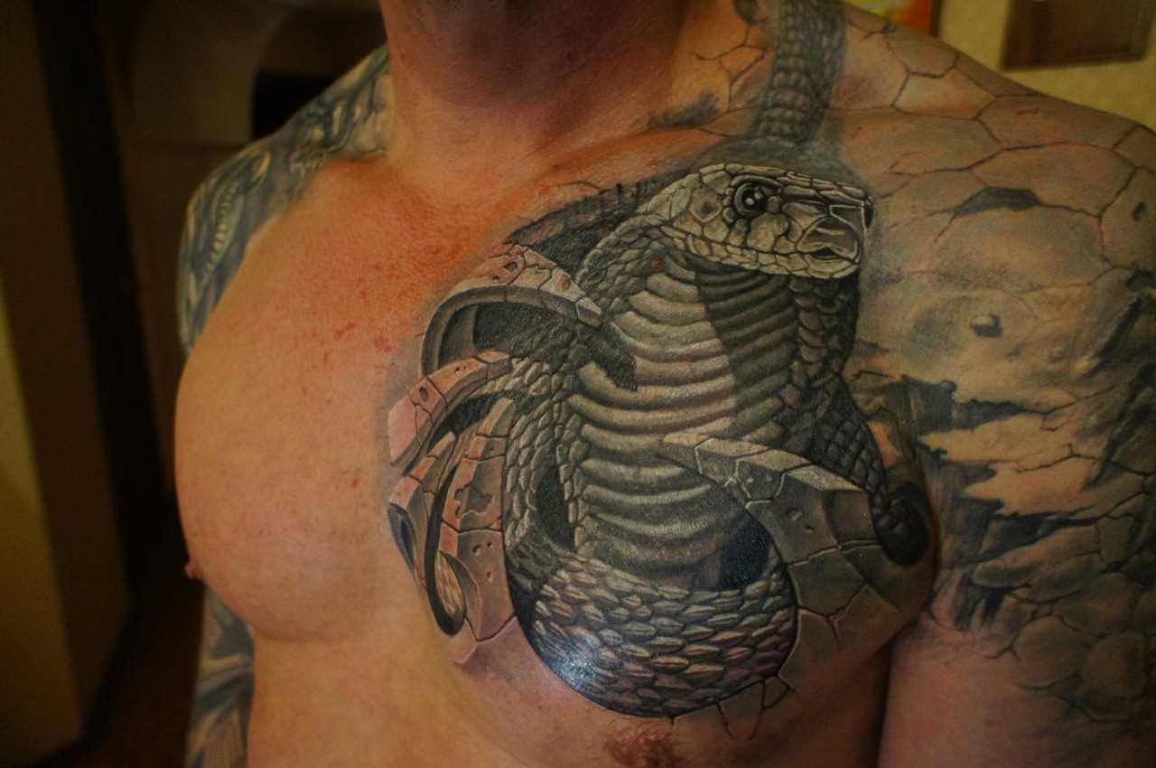 A tatuagem no peito do cara - de- cobra
