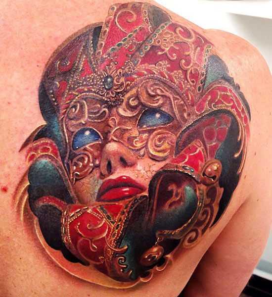 Bela tatuagem blade meninas - máscara