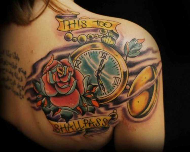 Bela tatuagem blade meninas - relógio de bolso e rosa