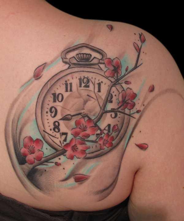 Bela tatuagem blade meninas - relógio e sakura