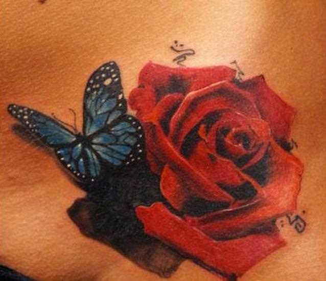 Bela tatuagem na barriga da menina - rosa e a borboleta