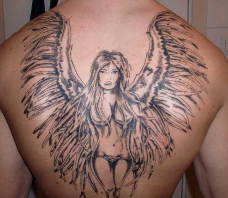 Bela tatuagem nas costas do cara - de- menina-anjo
