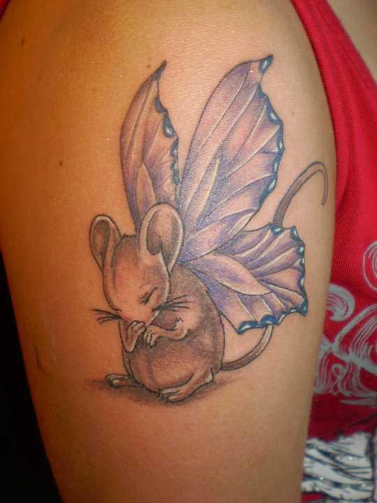 Bela tatuagem no ombro da menina - um rato com asas