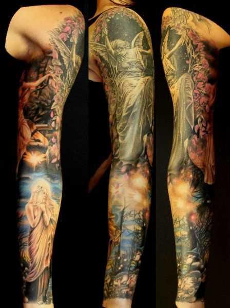 Bela tatuagem que tem no braço da menina - anjo