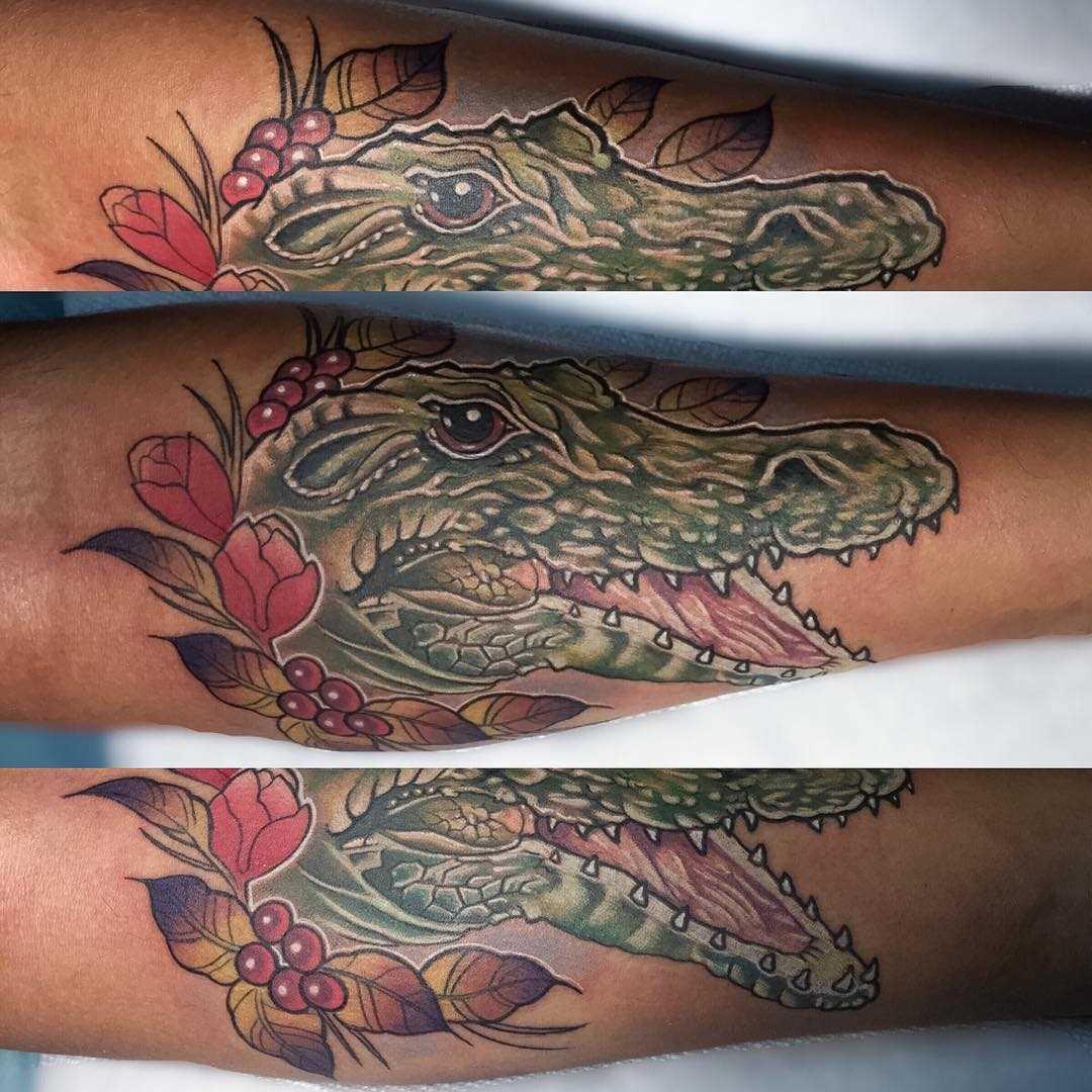 Cores de tatuagem de crocodilo no antebraço cara