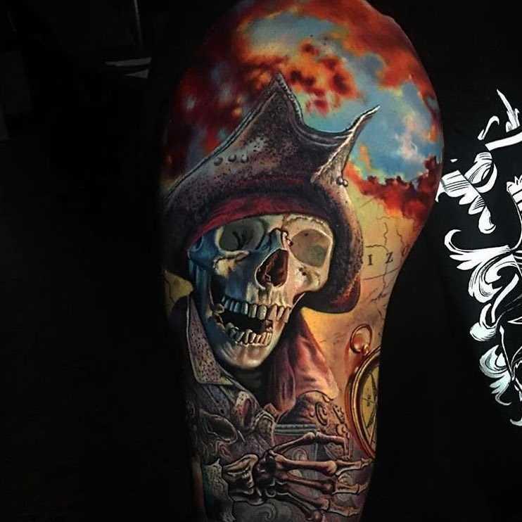 Cores de tatuagem pirata no ombro de homens