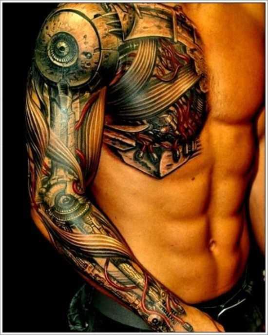 Cyborg - tatuagem no estilo de biomecânica na mão de um cara