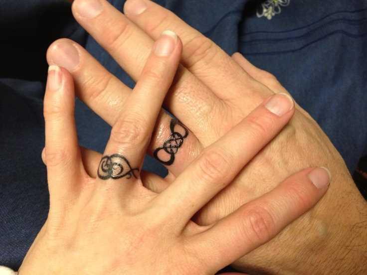 Desenho de alianças de casamento em seus dedos para homens e mulheres