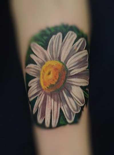 Foto da bela tatuagem de camomila no antebraço da menina