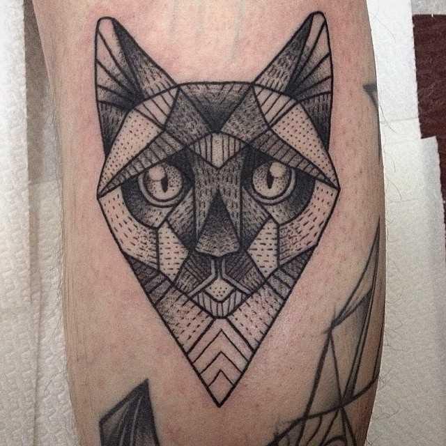 Foto de uma tatuagem de gato em grande estilo a geometria no antebraço cara