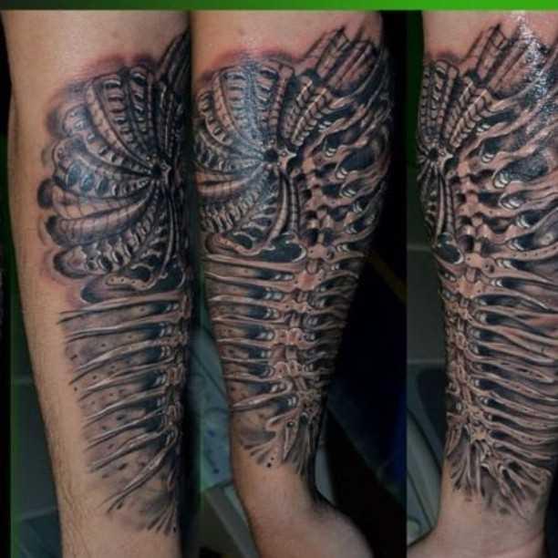Foto de uma tatuagem em estilo organika no antebraço cara