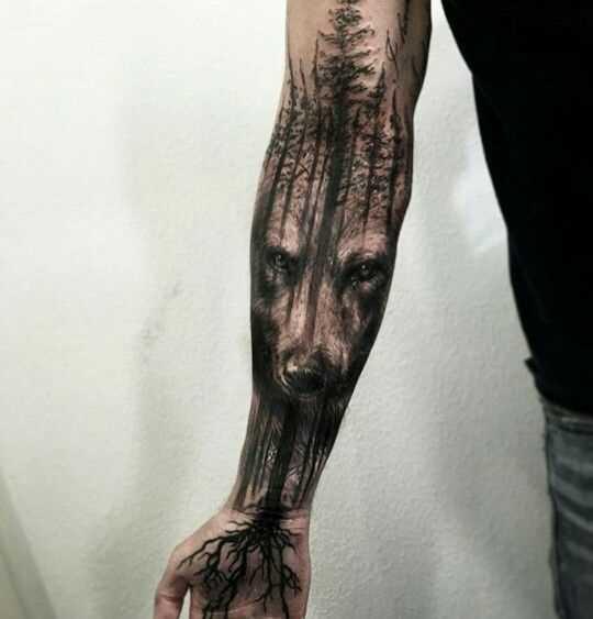 Foto íngreme da tatuagem do lobo e da floresta no estilo de blackwork no antebraço cara