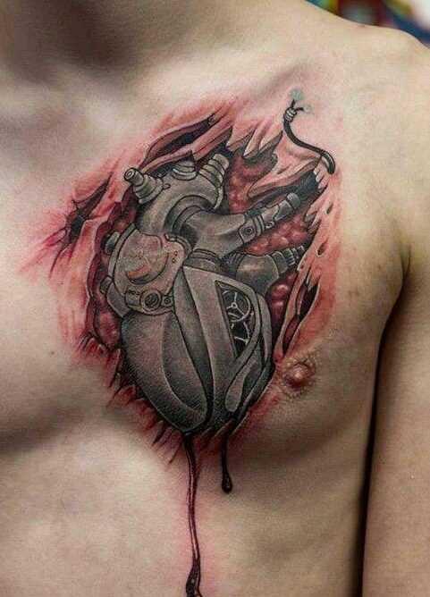 Fotos de tatuagem de coração no estilo organika na cara no peito