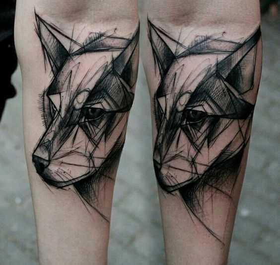 Fotos de tatuagem de lobo no estilo de gráfico no antebraço cara