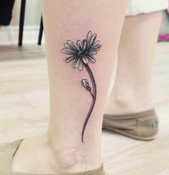 Fotos de tatuagem de margaridas sobre a perna da menina