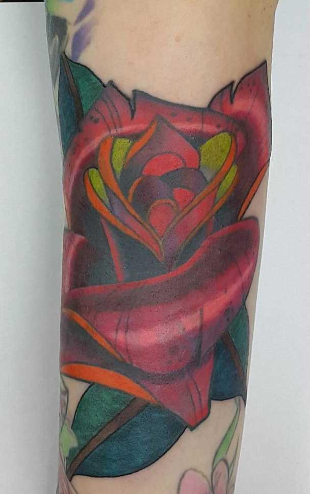 Fotos de tatuagem de rosas no estilo newschool no antebraço cara