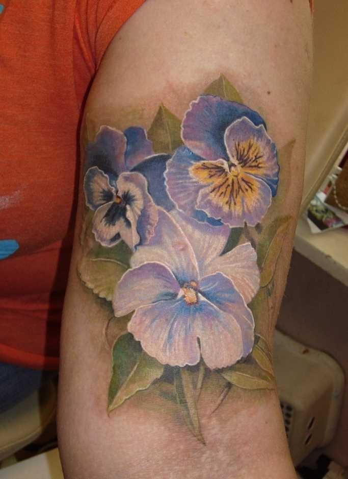 Fotos de tatuagem de violetas no ombro da menina