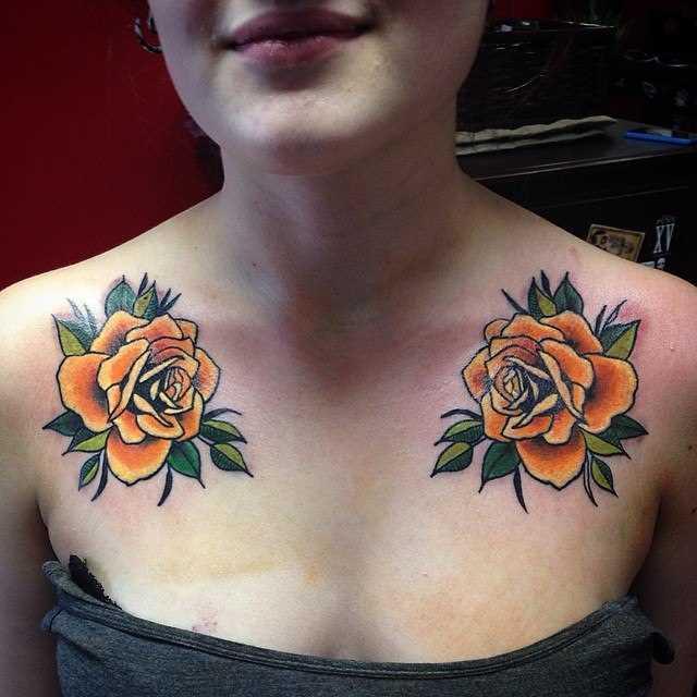 Laranja rosa - tatuagem no kliuchitsakh menina