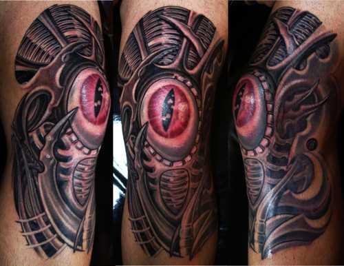 Olho - a tatuagem no estilo de biomecânica do joelho do cara