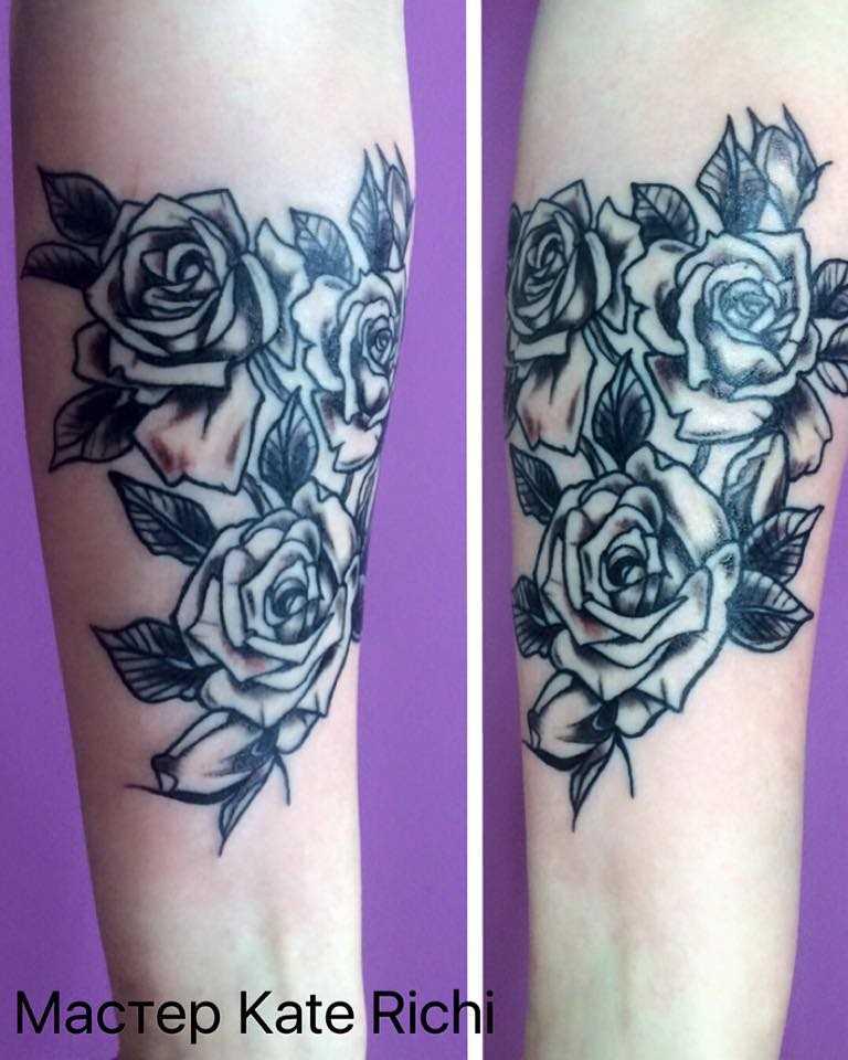 Rosa - tatuagem no antebraço da menina