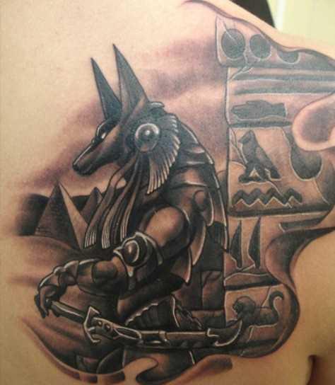 Tattoo blade cara - of anubis