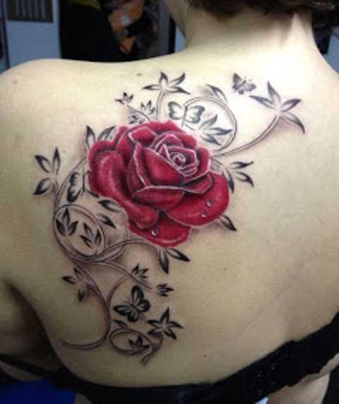 Tatuagem blade a menina - rosa e a borboleta
