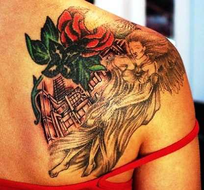 Tatuagem blade a menina - rosa e o anjo