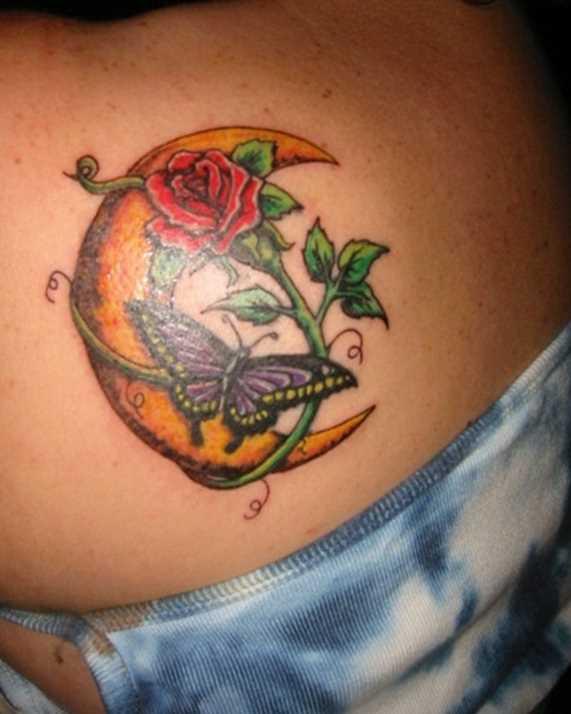 Tatuagem blade menina - lua, a rosa e a borboleta