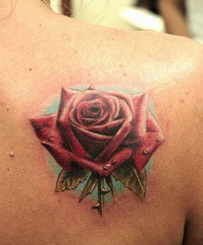Tatuagem blade menina - rosa vermelha