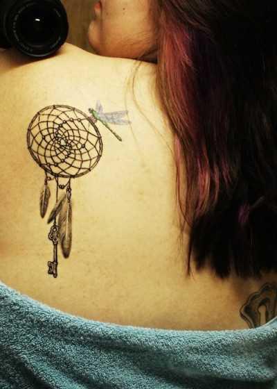 Tatuagem blade meninas - apanhador de sonhos e de libélula