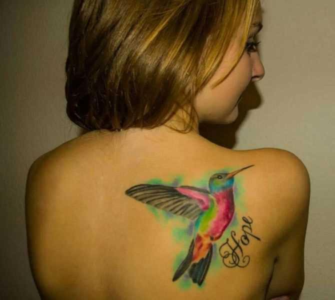 Tatuagem blade meninas - beija-flor e a inscrição