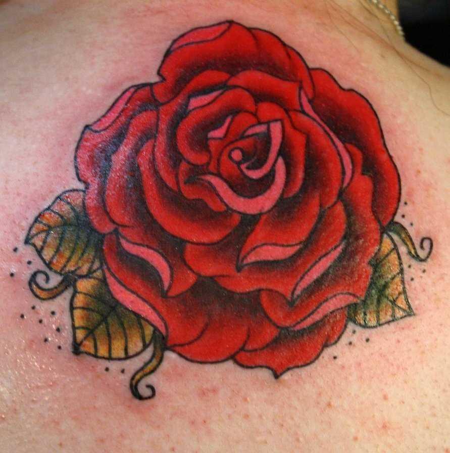Tatuagem da coluna vertebral, a menina - grande rosa