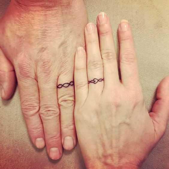 Tatuagem de alianças de casamento em seus dedos para homens e mulheres